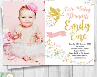 Fairy Princess Birthday Invitation | First Birthday Invitation | Fairy Party | Card With Picture | Pink & Gold Glitter | Printable Card