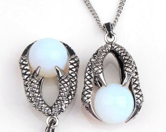 Dragon Claw Pendant with opal Sphere Antique Silver Tone