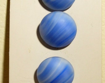 Blue Stripe Glass Buttons
