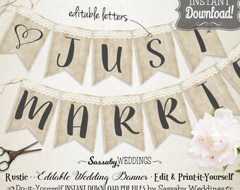 Rustic Banner EDIT yourself - INSTANT DOWNLOAD - Editable & Printable Natural, Wedding, Country, Shabby Chic, Baby Shower, Vintage Bunting