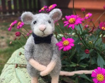 Needle Felted Mouse Sculpture | with Bow tie