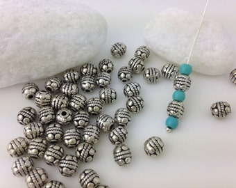 Silver Tone Metal Spacer Beads, Tibetan Silver, Rounded Barrel Beads