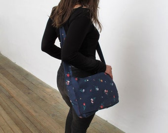 Blue Floral Cotton Handmade Messenger Bag Tote with Purple Velour Lining