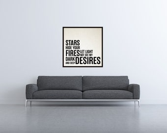 Stars Hide Your Fires - Shakespeare Wall Poster, Macbeth Quotes, Shakespeare Quotes, Typography Art, Typography Decor, Wall Poster