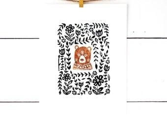 Gift For Kids, Bear Art, Woodland Nursery Decor, Linocut, Block Print Art, Linocut Print, Kids Room Art, Art for Children Art for Boy Room