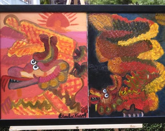 """Original Framed Oil On Canvas Painting, 32 x 20, """"Dragon"""""""