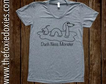 DACH NESS MONSTER Heather Grey T Shirt, Dachshund, Doxie, Doxies, Weiner Dog,LochNess Monster,Loch Ness,Dachness, Wiener Dog, Sausage Dog