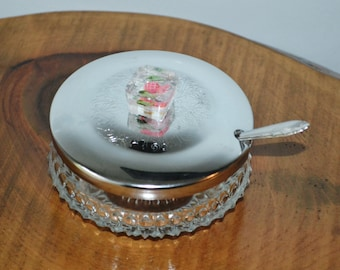 Sugar Bowl / Caviar Dish / Lidded Glass Dish With Spoon