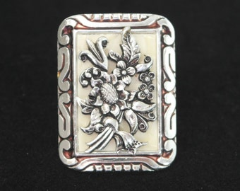 Vintage Rectangular Silver Tone, Mother of Pearl and Enamel Scarf Clip