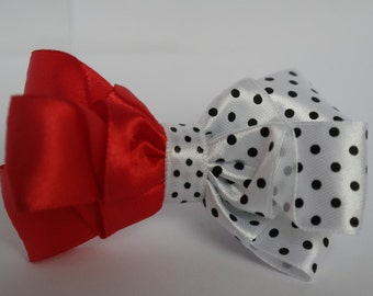 Red & white polka dot hair bow - red polka dot bow, 3 inch red bow