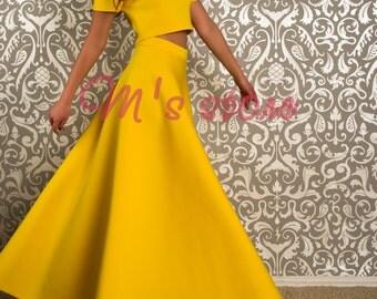 Neopren long skirt and crop-top