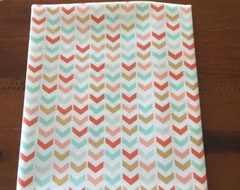 Gold and Pastel Chevron Fabric- Metallic gold, coral and mint on white
