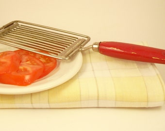 Vintage Tomato Egg Slicer, Ekco, Red Painted Wooden Handled, Miracle Serrated, Ekco Product, USA, Multipurpose Kitchen Utensil and Gadget