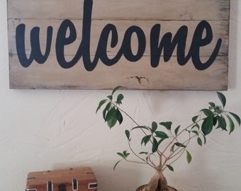 "Large 17"" X 35"" hand painted welcome signs on distressed wood."