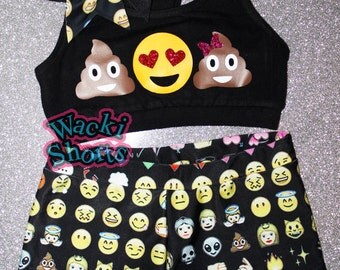 Poo Emoji - Wacki Set - Funny Poo Emoji Bra, Bow and Wacki shorts Set