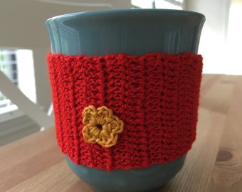 Coffee cozy - crochet 100% cotton, coffee cozie, tea cozy, mug cozy, beer cozy, gifts for her, gifts for him, gifts for mom, gifts for dad