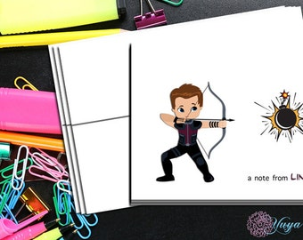 Hawkeye comic book Thank You Cards / comic book stationery / Superhero Stationery Set / personalized Boy thank you cards / Set of 12