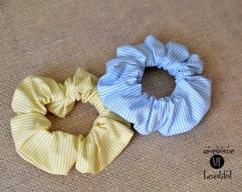 Hair scrunchies, Striped scrunchy, Blue and Yellow scrunchy, Set of colorful cotton scrunchies, Wide scrunchie , Cute scrunchy, Gift for her