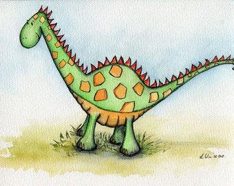Giclee Print of an Original Watercolour Painting. Dinosaur Bernie the Brachiosaurus