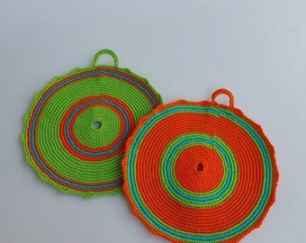 Crocheted Pot Holders, set of two, handmade item, cotton, colourful, decorating and using accessory, Kitchen and Dining, Kitchen  Decoration