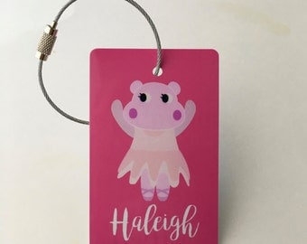 Pink Luggage Tag - FREE SHIPPING, Personalized Luggage Tag, Ballet, Luggage tag, Custom Luggage Tag, Diaper Bag, Back to School, Back Pack