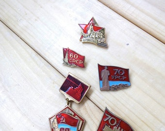 Set of 5 Pin badges Vintage Soviet pin badges Enamel metal badges Collectable badges 60-70 anniversary of the USSR Communist Badges victory