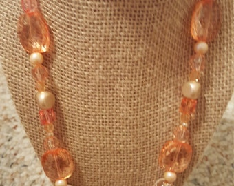 Beaded necklace with toggle clasp