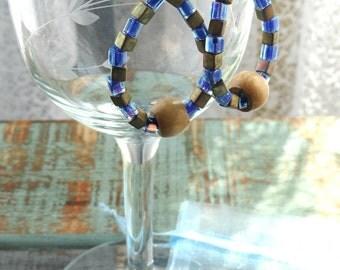 Blue and Gold Hoop Earrings/Hoop Earrings/Hematite Earrings/Drop Earrings/Teardrop Earrings/Handmade Jewelry/Gift Idea/Dangle Earrings