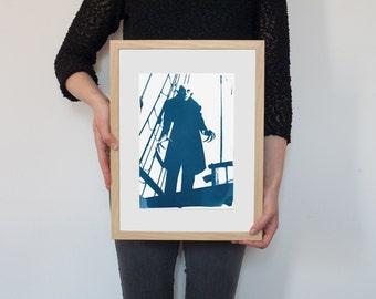 Cyanotype Print, Nosferatu Film Still, on Watercolor Paper, A4 size