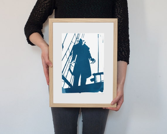 Nosferatu Vampire Film Still Cyanotype, on Watercolor Paper, A4 size (Limited Edition)