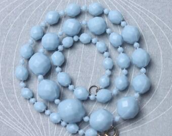 Blue Necklace, 50s Necklace, Vintage Beads, Powder Blue Necklace