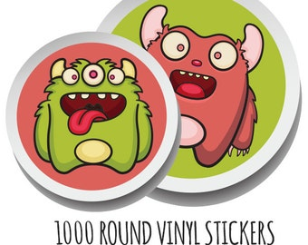 Custom Round Stickers- 1000 Custom Stickers- Round Vinyl Stickers- Waterproof