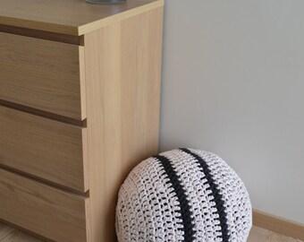 Crocheted ottoman, Crocheted footstool pouf, Crochet floor cushion, 100% Handmade