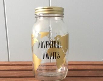 Mason Jar Piggy Bank//Mason Jar Bank// Savings Jar// Vinyl Mason Jar// Piggy Bank// Adult Piggy Bank//Adventure Awaits//Savings Fund