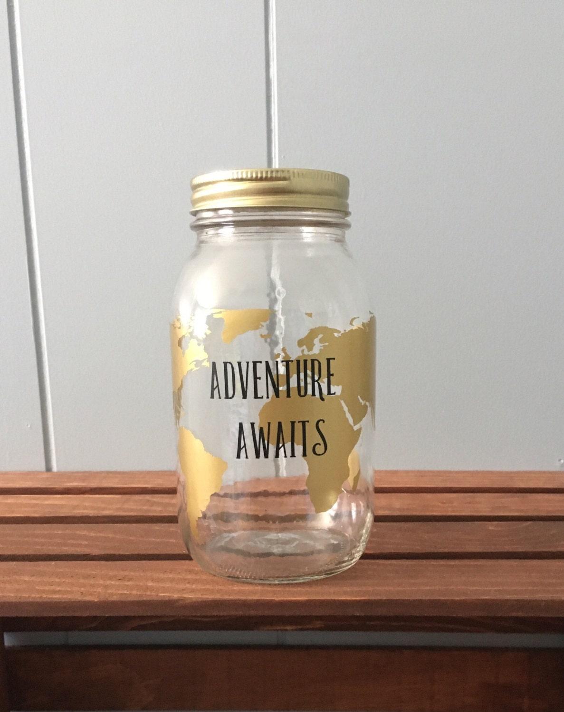Mason jar piggy bank mason jar bank savings jar vinyl for Travel fund piggy bank