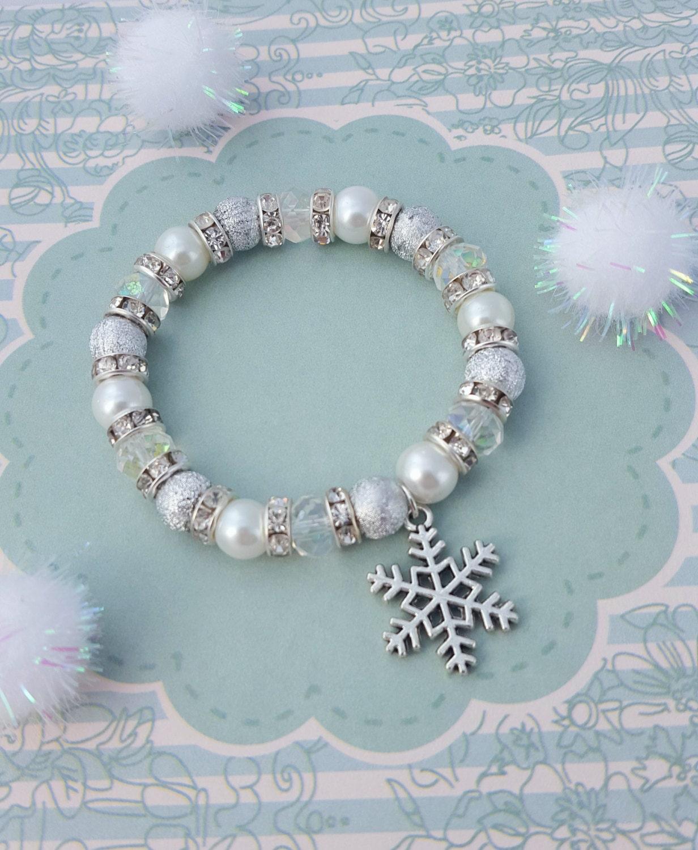 Snowflake Charm Bracelet: Snowflake Charm Bracelet Kids Bracelet Crystal Jewellery