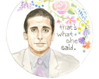 Michael Scott Watercolor Illustration Original Art Print 5x7
