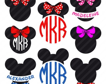 Minnie Mouse SVG, Mickey Mouse SVG, Disney SVG, Monogram Silhouette Cricut File
