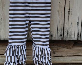 Gray Striped Ruffle Pants