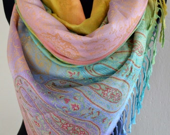 Pashmina Scarf Ombre Rainbow, Scarf for Women, Blanket, Shawl