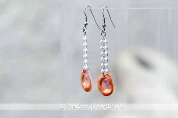 Dangle Earring SCOMBERA - Turquoise & seal shell dangle earrings hook - Eye of Santa Lucia