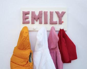 Girls coat rack with name, personalised gift, red, coat hooks, coat rack, coat peg, wardrobe