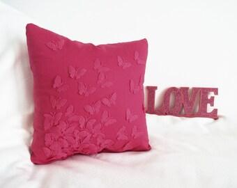 Fuchsia Butterfly Pillow cover