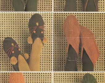 Womens and Childrens Footsie Slippers PDF Knitting Pattern : Womens . Boys . Girls . Foot Socks . Home Socks . Instant Digital Download
