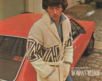 Mens Starsky Style Belted Jacket PDF Knitting Pattern : Mans 38 , 40 and 42 inch chest . Starsky and Hutch Retro Cardigan . Instant Download