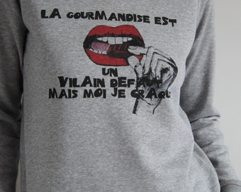 Sweatshirt grey greed woman graphic