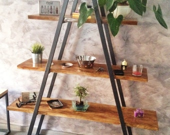 Wood & Iron industrial-Artisan-library-design living room shelves
