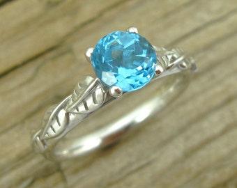 Blue Topaz Leaf Engagement Ring, Blue Topaz Engagement Ring, Antique Style Alternative Engagement Ring, White Gold Leaf Ring With Blue Topaz