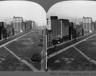 Chicago Michigan Ave. Stereoview Photo