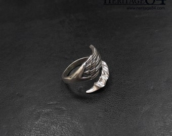 Dragon wing ring in sterling silver, adjustable wrap around ring, wing rings for women, silver band ring for men and women,index finger ring